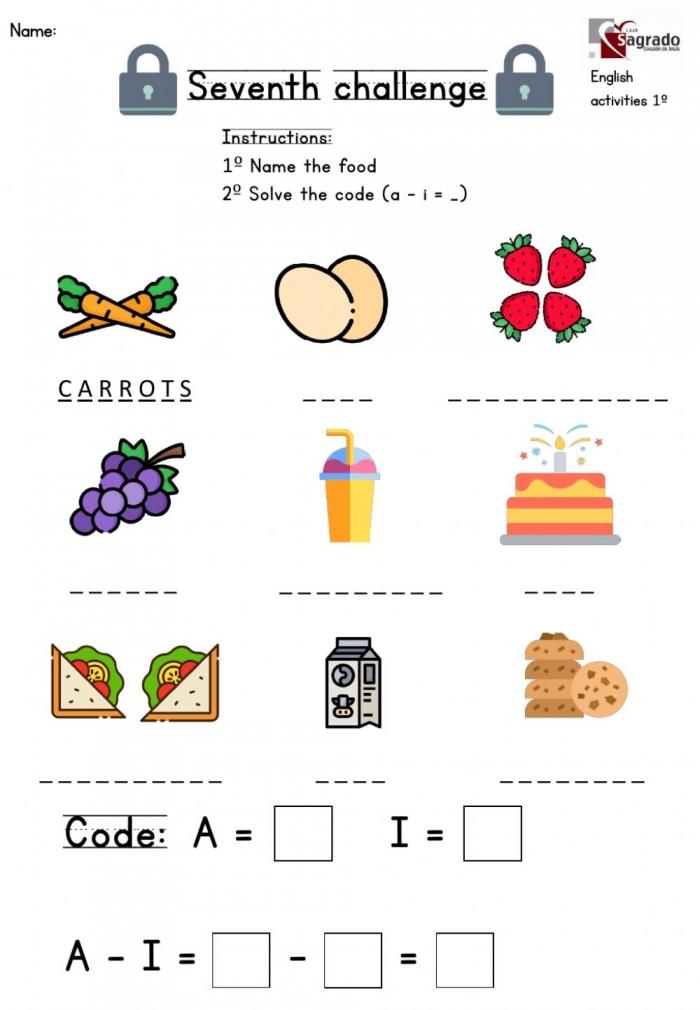 Spelling Food  Worksheet