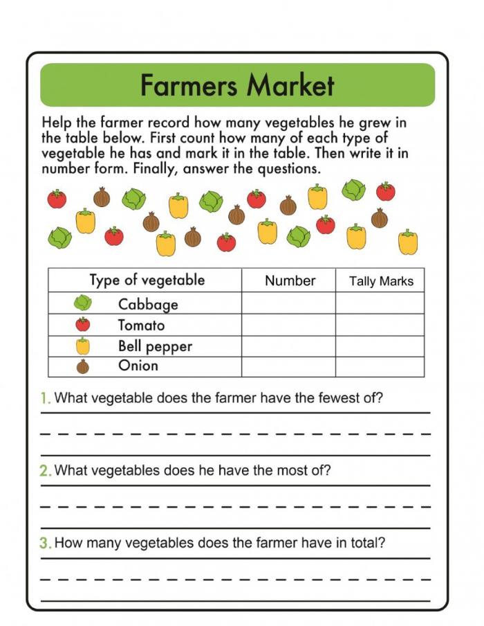 Tally Chart Farmers Market Worksheet