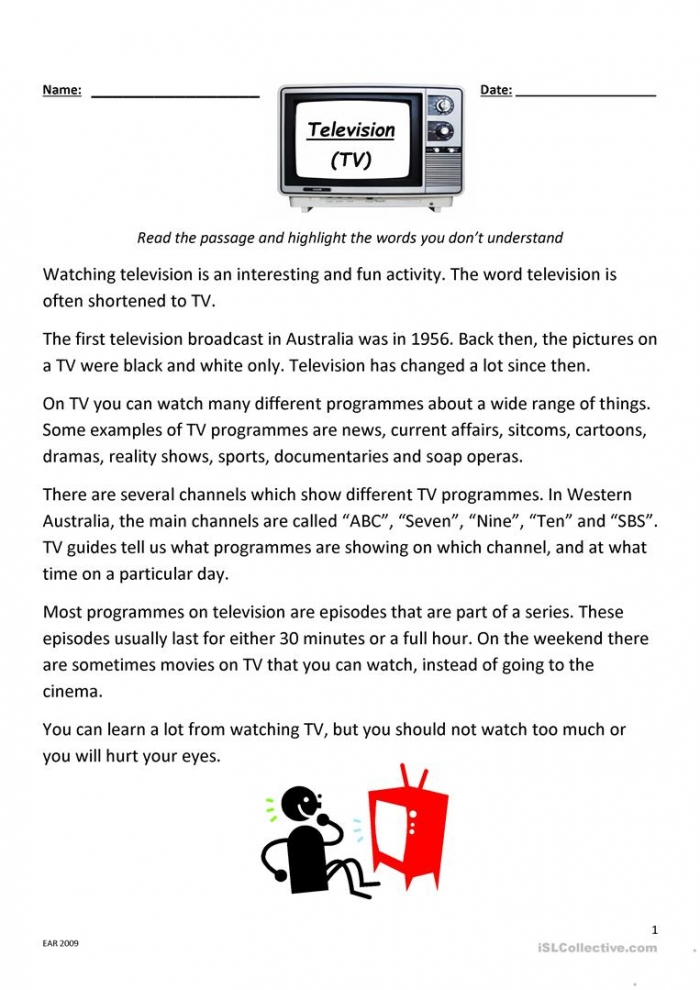 Television Reading And Comprehension