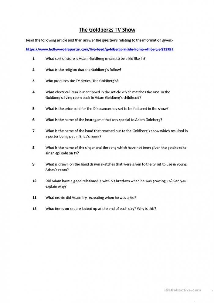 The Goldbergs Tv Show Worksheet