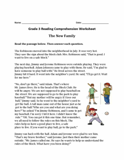 Reading Comprehension Practice: Jimmy And The Cake