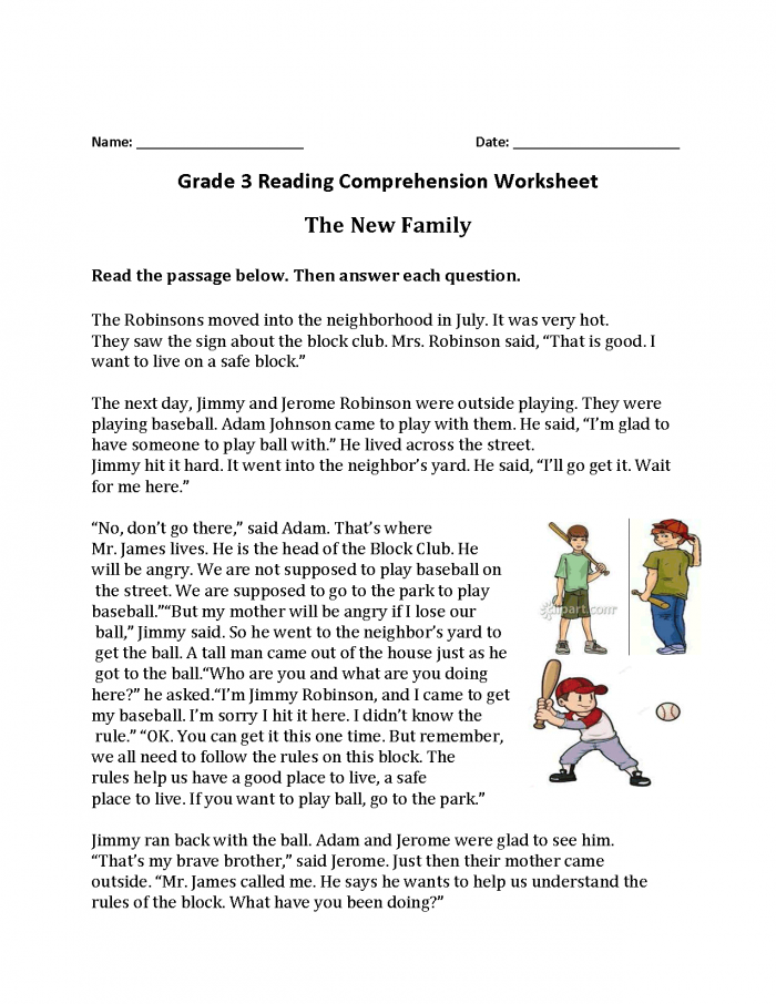 The New Family Third Grade Reading Worksheets