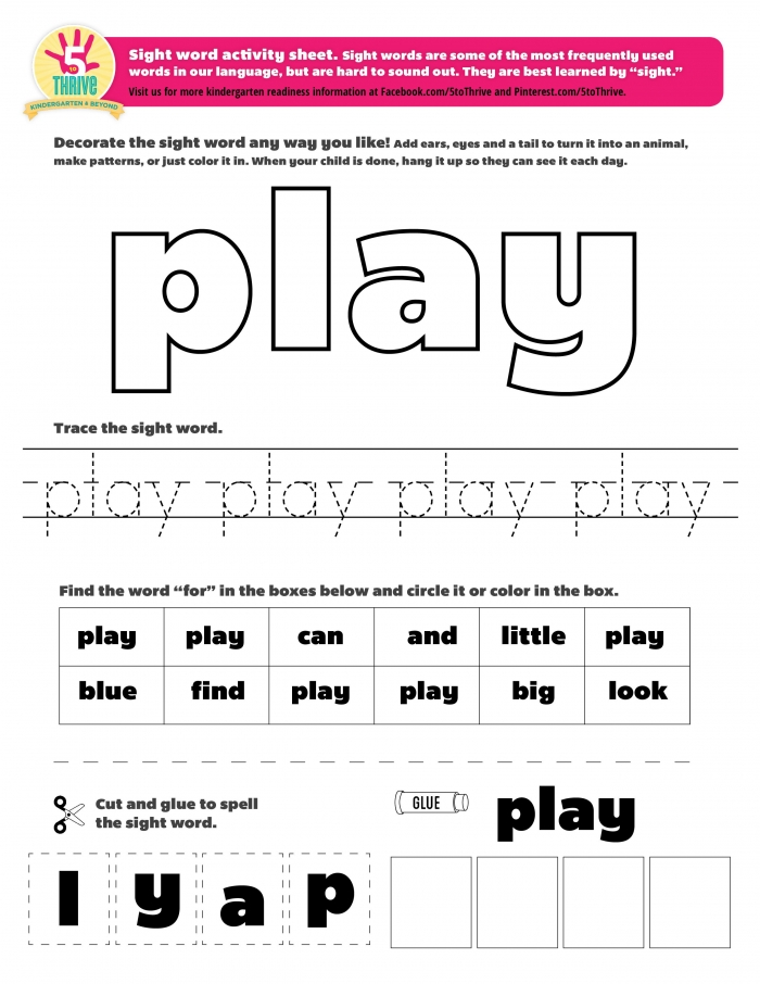 The Sight Word This Week Is Play Sight Words Are Some Of The