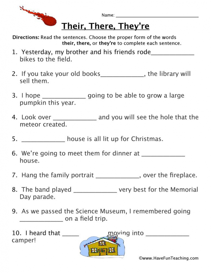 Their  There  Theyre Fill In The Blank Homophones Worksheet