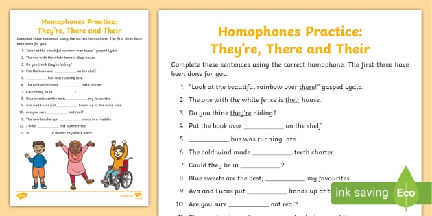 There Their And Theyre Homophones Practice Worksheet