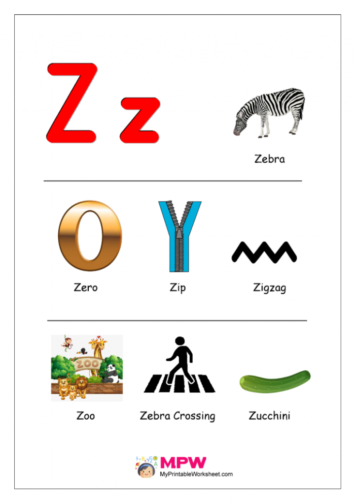 Things That Start With Z For Preschool