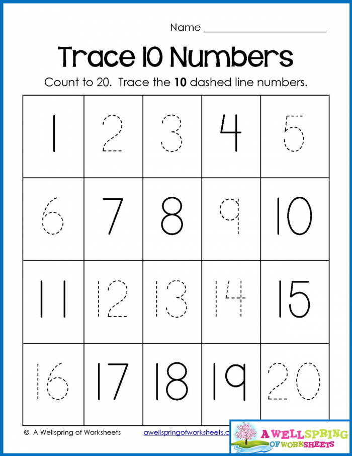 Trace  Write And Fill In Numbers