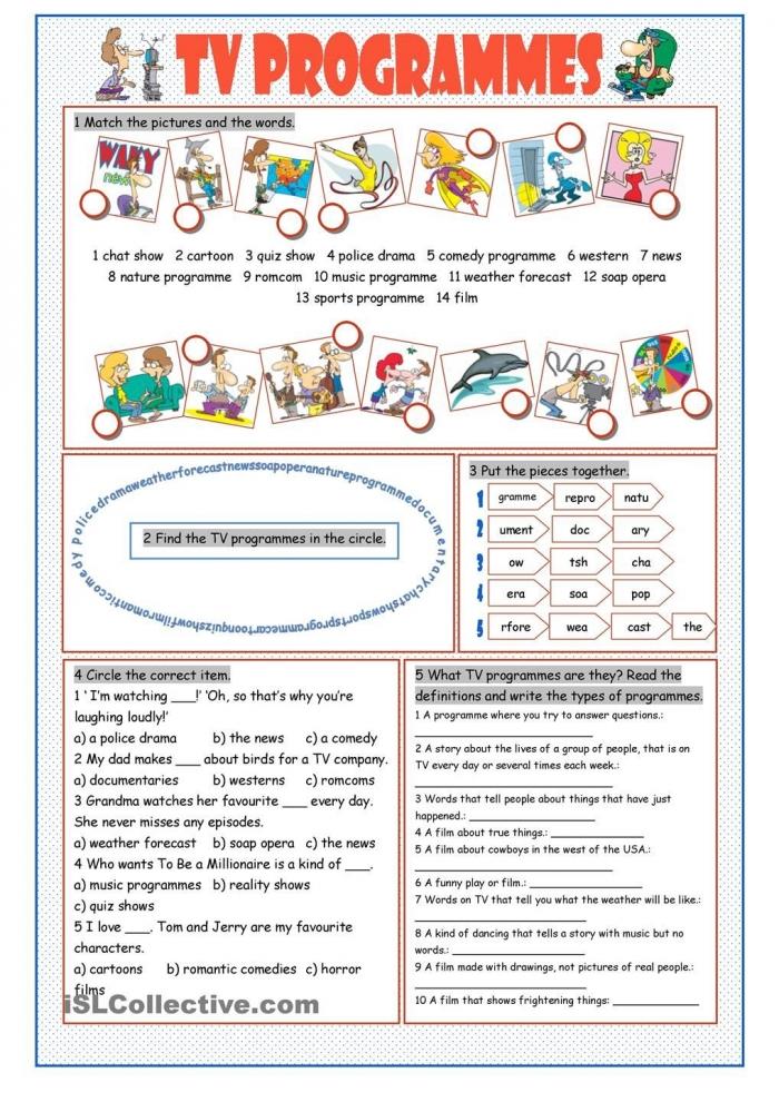 Tv Programmes Vocabulary Exercises