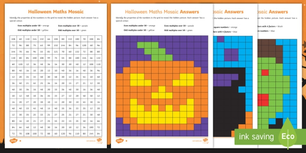 Uks Halloween Maths Mosaic Differentiated Activity Sheets