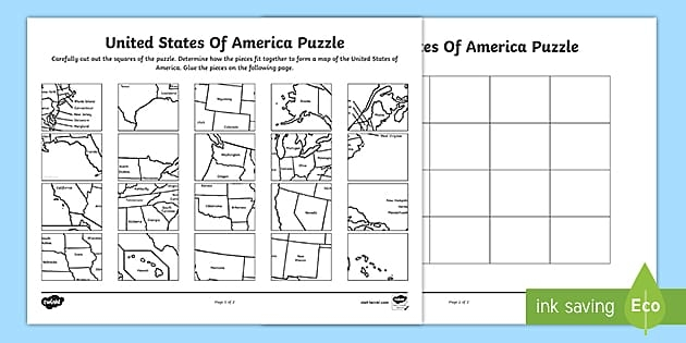 United States Map Printable Puzzle Teacher Made