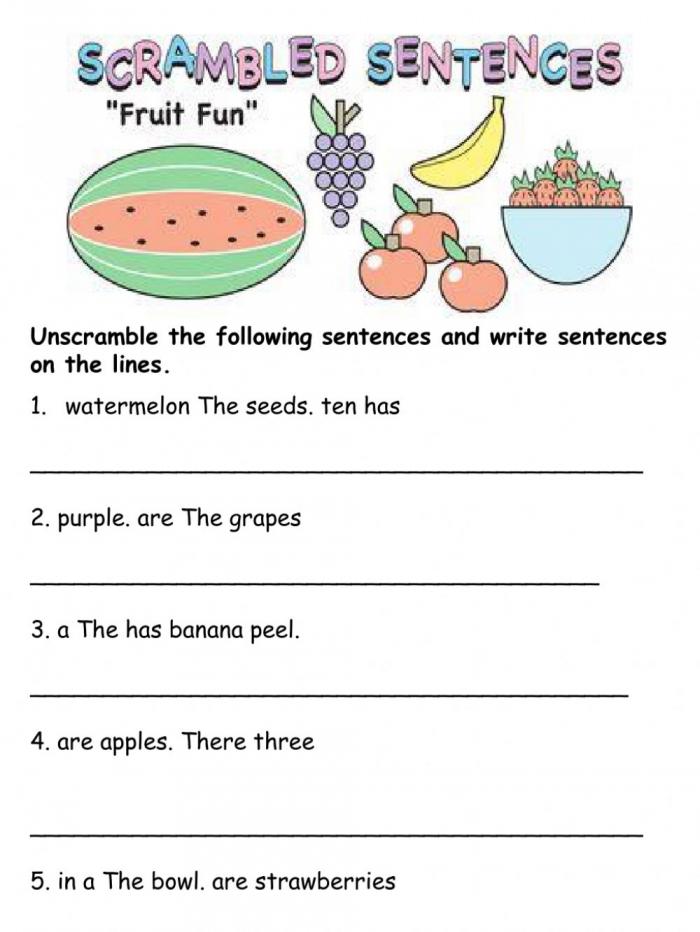 Unscramble Sentences Worksheet