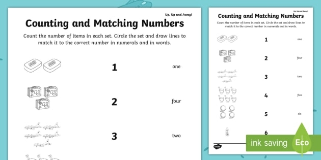 Up  Up And Away Counting And Matching Numbers Worksheet  Worksheet