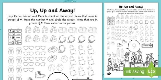 Up  Up And Away Number  Travel Counting Worksheet  Worksheet