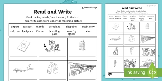 Up  Up And Away Read And Write Worksheet  Worksheet