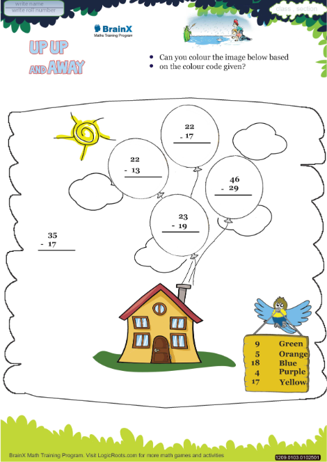 Up Up And Away Math Worksheet For Grade