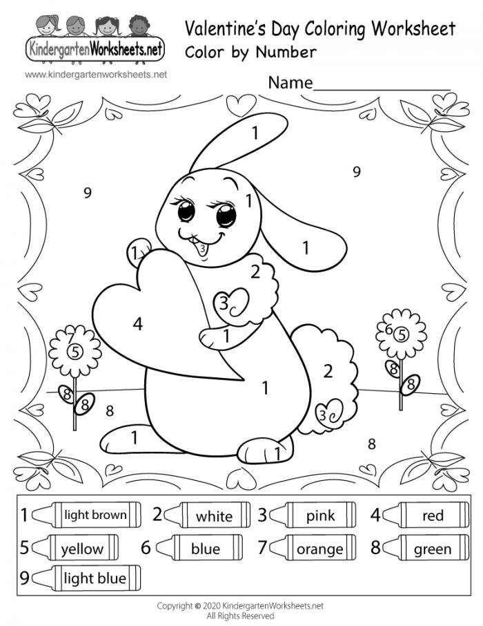 Valentines Day Color By Number Worksheet For Kindergarten