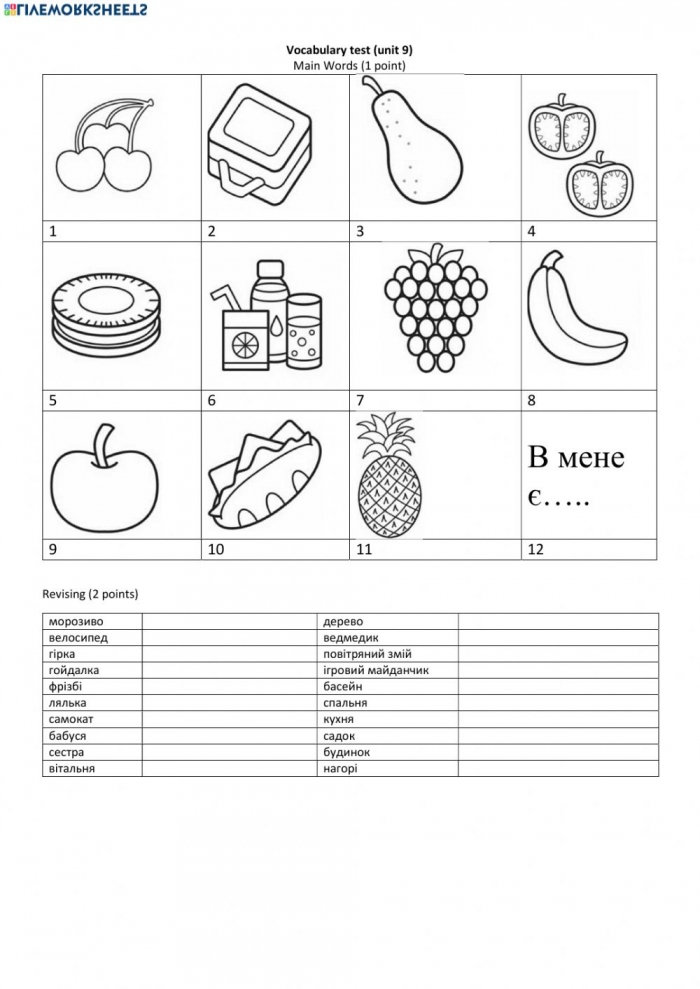 Vocabulary Unit  Family And Friends Worksheet