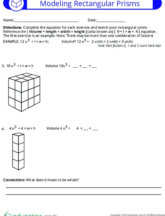 Volume And Rectangular Prisms Lesson Plan Education Com Th Grade