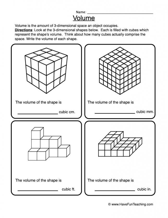 Volume Cubes Worksheet  Have Fun Teaching
