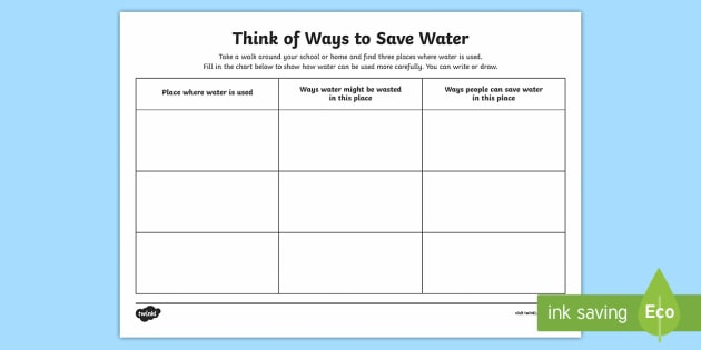 Ways To Save Water Worksheet Teacher Made