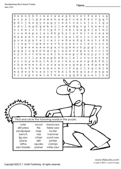 Woodworking Terms Worksheet