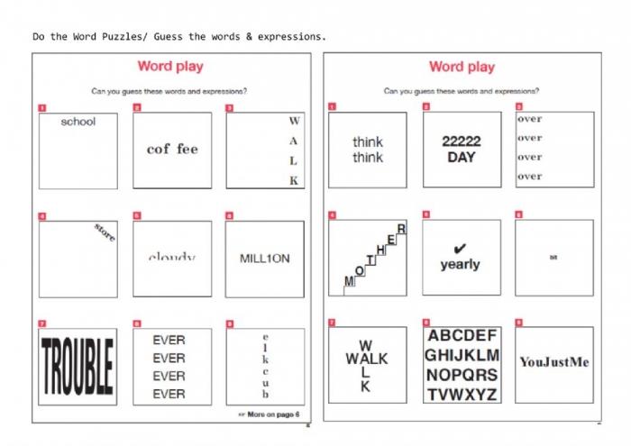 Word Play Worksheet