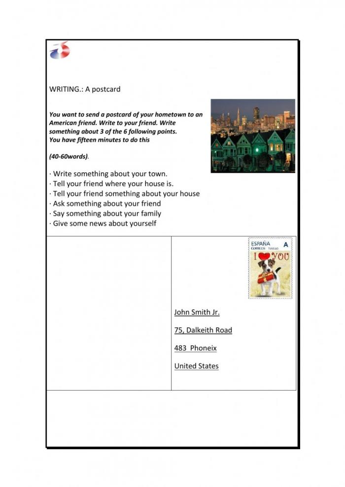 Writing Postcard Ket Worksheet