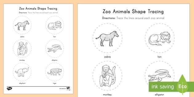 Zoo Animals Shape Tracing Worksheet  Worksheet