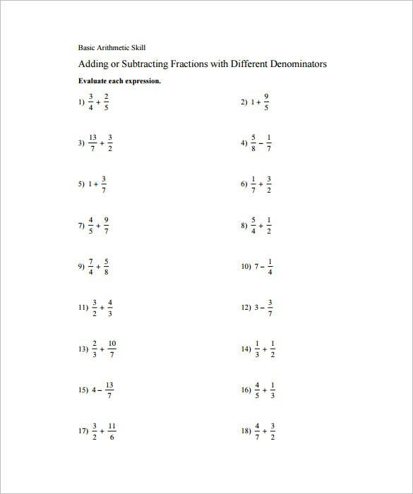 How To Subtract Fractions Worksheets 99Worksheets