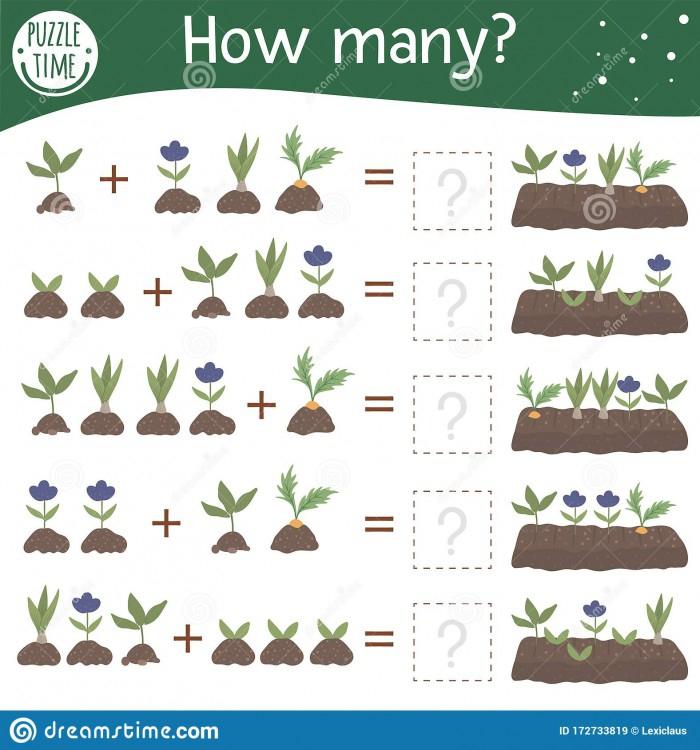 Addition Garden Math Worksheets