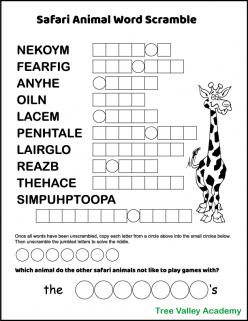 Tree Word Scramble