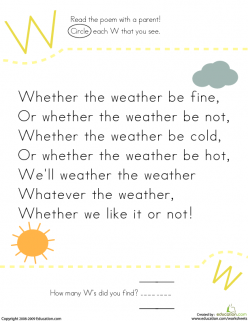 Find The Letter W: Whether The Weather