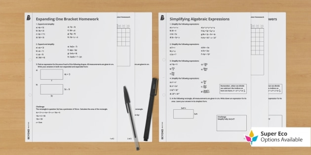 An Introduction To Algebra Homework Activity Pack