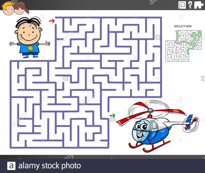 Cartoon Illustration Of Educational Maze Puzzle Game For Children