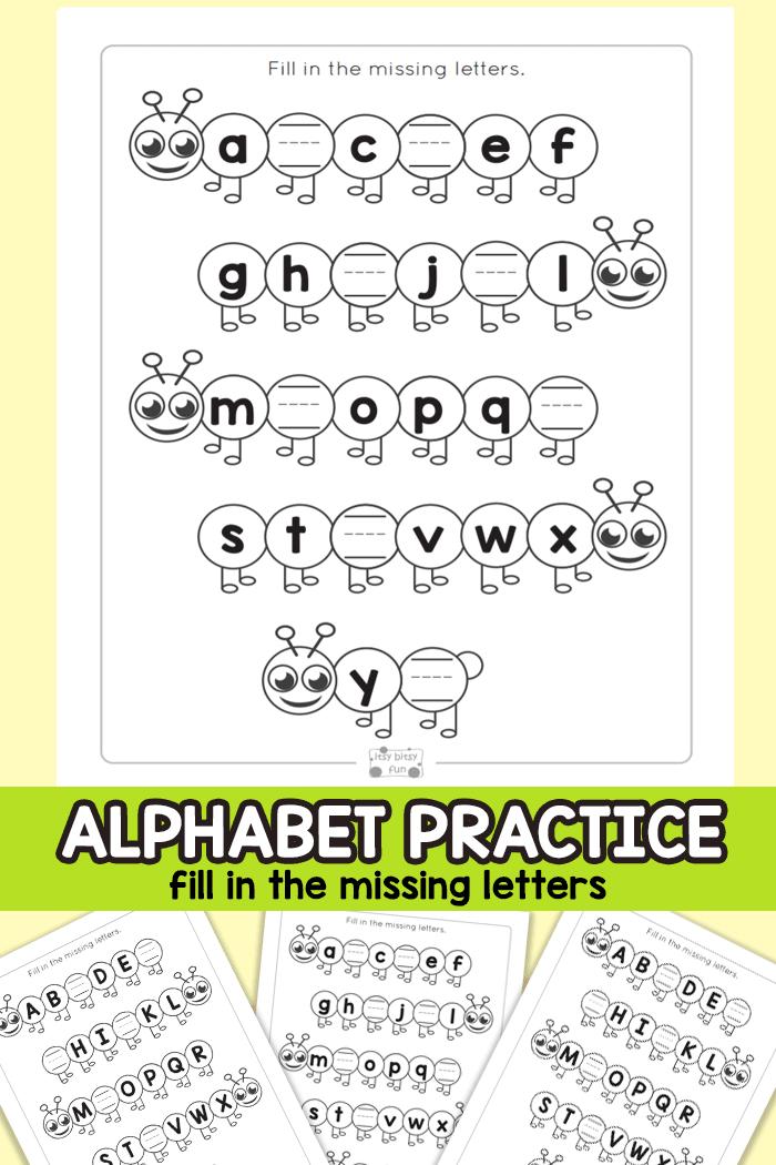 Alphabet Clouds – Find The Missing Letters Worksheets 99Worksheets