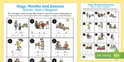 Days, Months, And Seasons Assessment