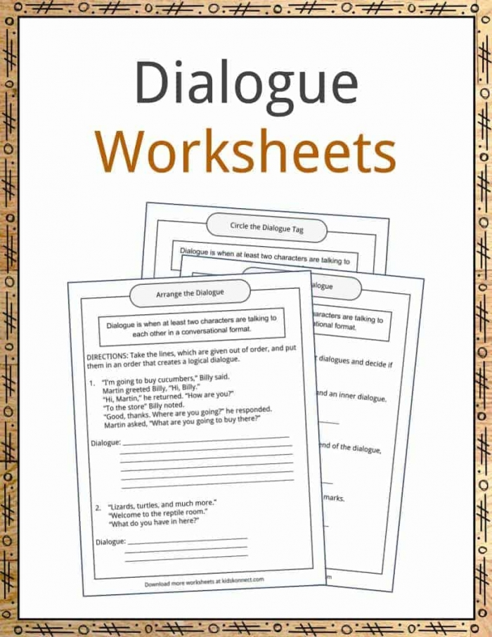 Dialogue Examples  Definition And Worksheets