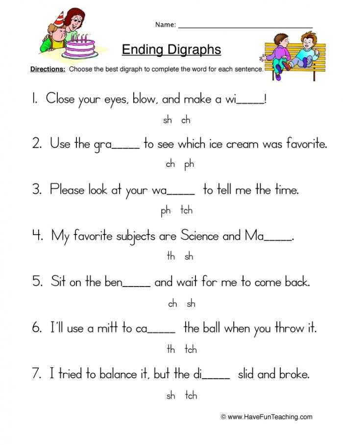 Ending Digraphs Sentences Worksheet  Have Fun Teaching