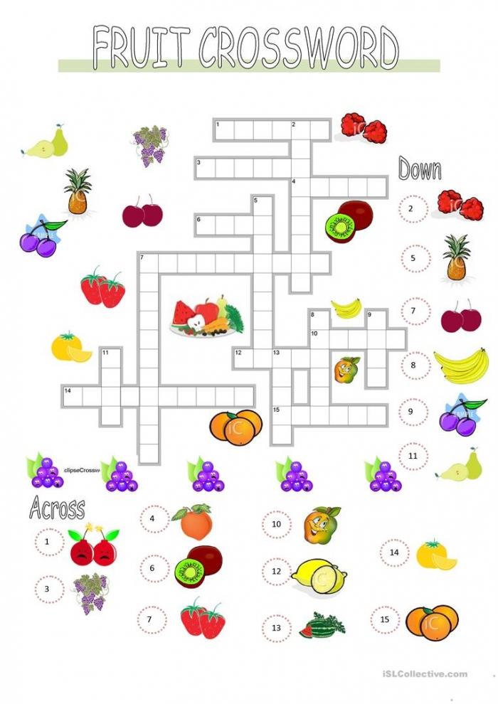 English Esl Fruit Crossword Worksheets