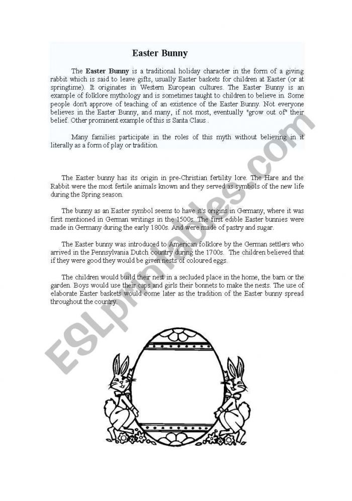 English Worksheets Easter Bunny Story