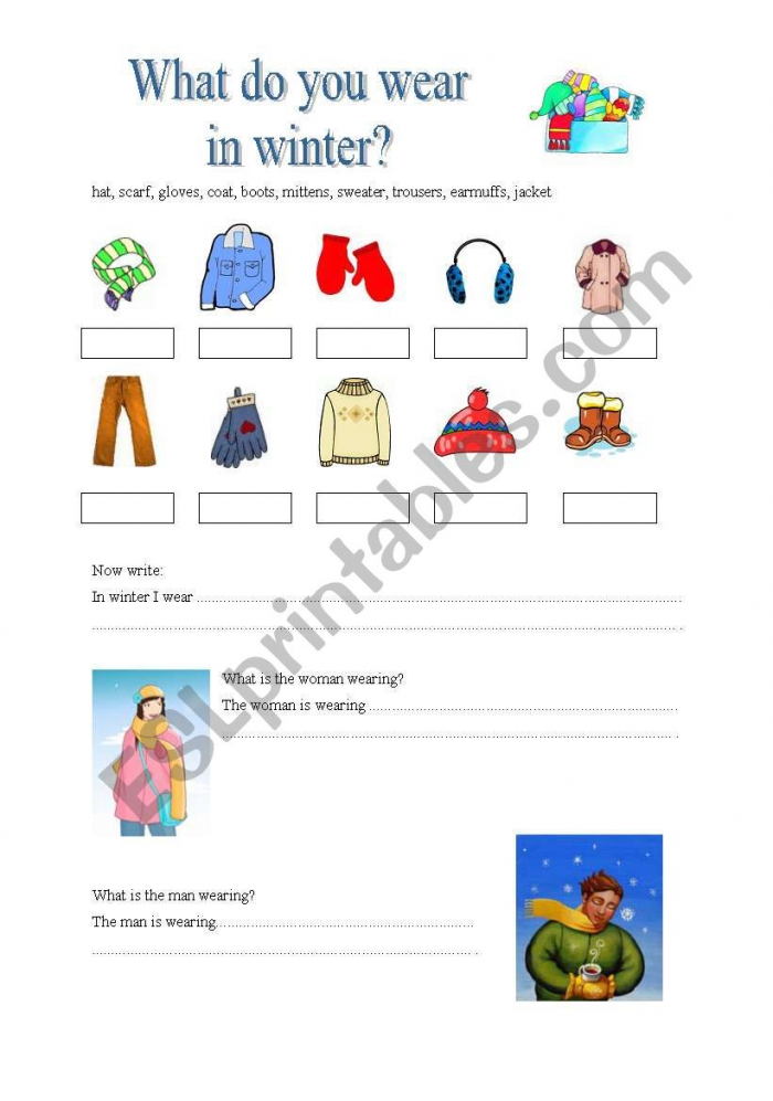 English Worksheets What Do You Wear In Winter