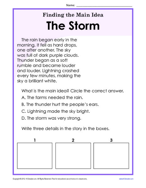 Finding The Main Idea Worksheets Rd Grade Worksheet For Th St