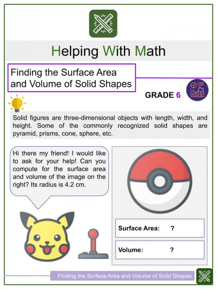 Finding The Surface Area And Volume Of Solid Figures Worksheets