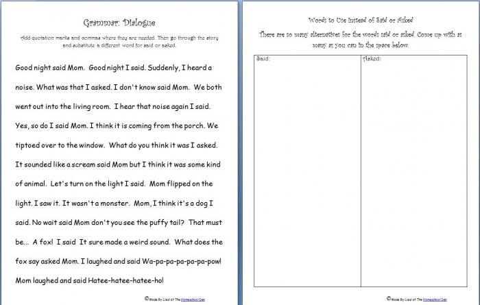 Free Grammar Practice Sheet Quotation Marks  Saidasked Words