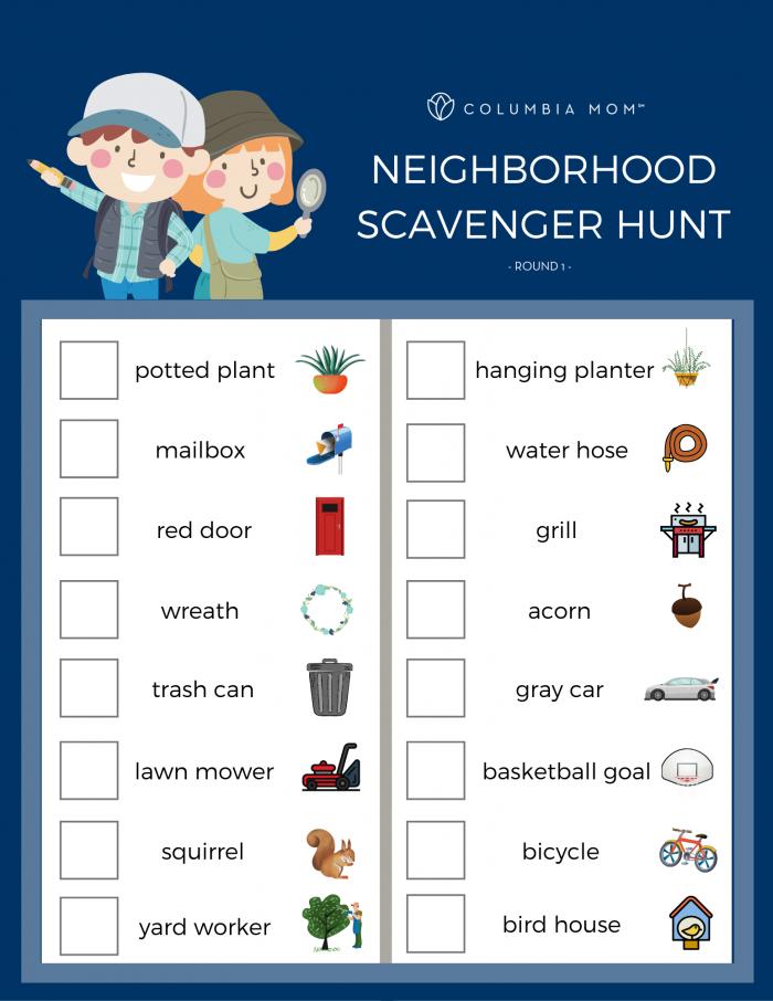 Free Neighborhood Scavenger Hunt Printables