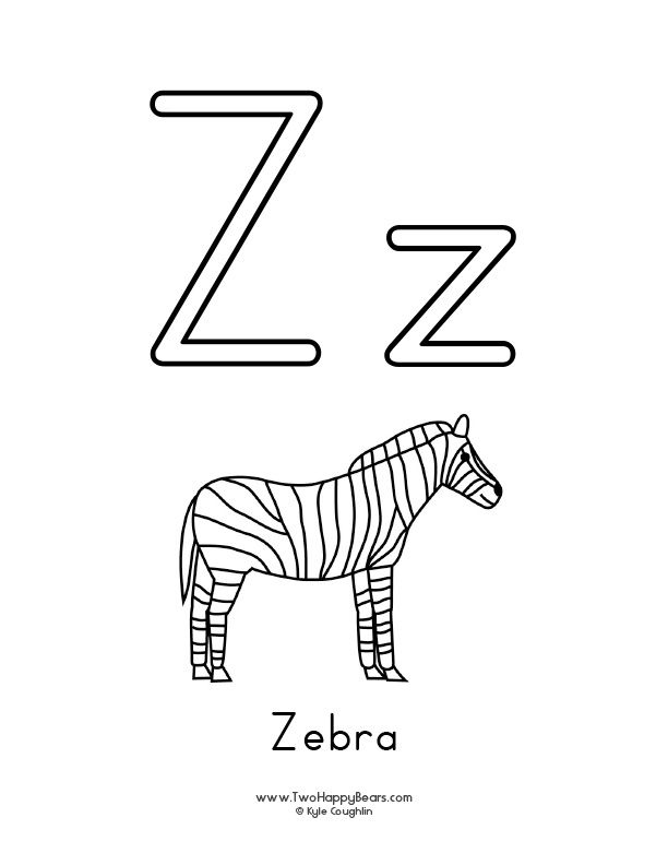 Free Printable Coloring Page For The Letter Z  With Upper And