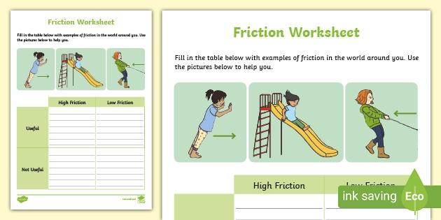 Friction Worksheet