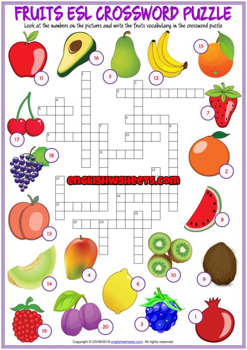 Fruits Esl Printable Crossword Puzzle Worksheet For Kids
