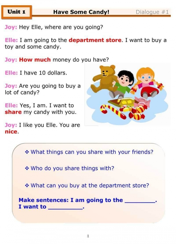 Fun Esl Dialogue For Kids About Sharing  Featuring A Simple Esl