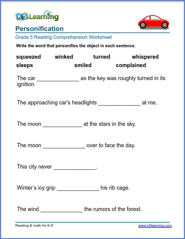 Grade Reading Comprehension Exercises K Learning Personification